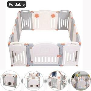 Foldable-14-Panel-Safety-Play-Center-Baby-Playpen-Kids-Yard-Home-Indoor-Outdoor