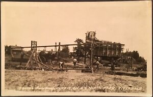Real Photo RPPC Riverdale CA ~ Men At Work Gravel Pumping ~ A.E. North Farm