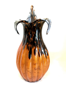 Art-Glass-Vase-Hand-Blown-Spatter-Stunning-Ribbed-Design-17-inches-Tall