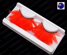 Women Red Costume long Feather Exaggerated Party Fake False Eyelashes Eye lashes
