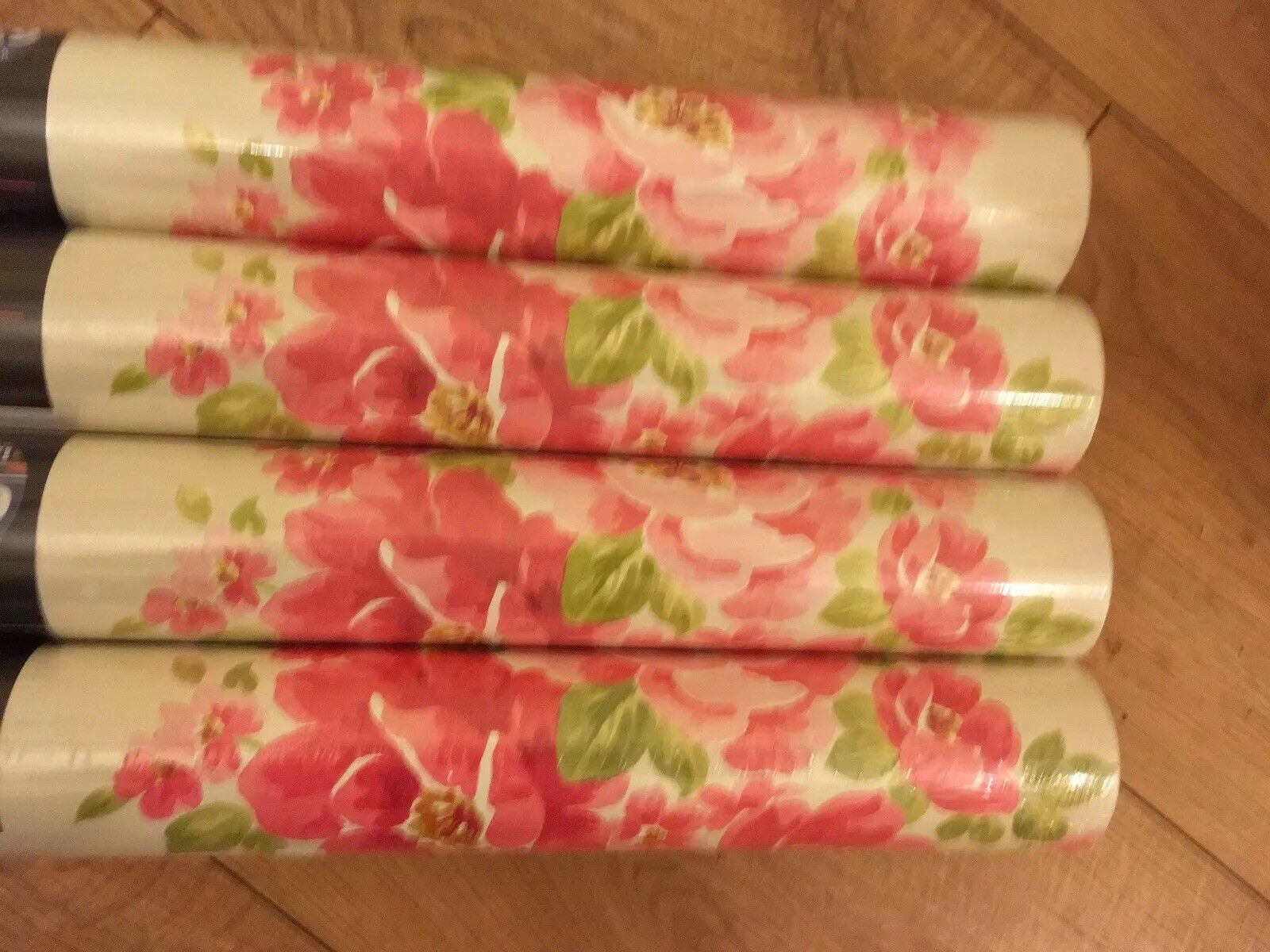 4 X Rolls design house  pink Floral wallpaper Same Batch Jessica Cream Motif