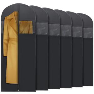 Plixio-6-Pack-60-034-Long-Black-Garment-Bags-for-Clothing-Storage-of-Dresses-Suits