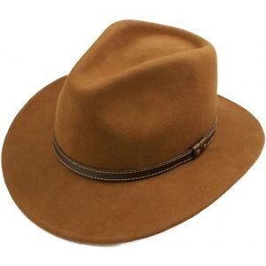 Marron-Camel-Plegable-Fedora-De-Fieltro-Vaquero-Hat-100-Lana-Men-amp-Mujer
