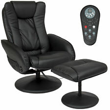BCP Faux Leather Electric Massage Recliner Chair w/ Ottoman - Black