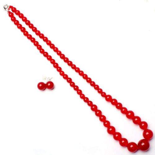 925 Argent sterling Boucles d/'oreilles Set 6-14 mm Naturel Rouge Jade Perles rondes collier