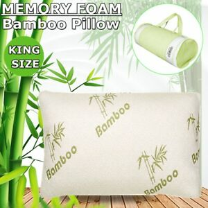 Comfort-King-Size-Bamboo-Memory-Foam-Bed-Pillow-Cooling-Hypoallergenic-Hotel