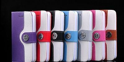 Apple IPhone 4 / 4S case wallet case / Two tone High quality / 7 Colours / UK