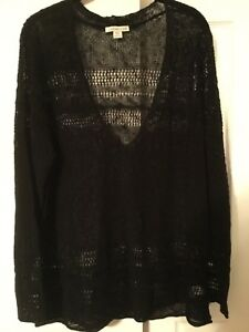 Coldwater-Creek-Black-Open-Crochet-Lace-Knit-V-Neck-Pullover-Sweater-2X-20-22