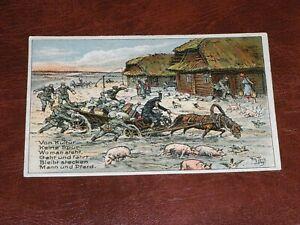 ORIGINAL-ARTHUR-THIELE-SIGNED-MILITARY-POSTCARD-PIGS-amp-HORSES