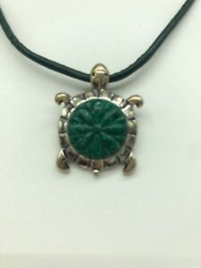 Carolyn-Pollack-Relios-Sterling-Silver-Turtle-Necklace-Gemstone-Shell-925
