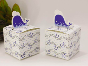 Nautical Favor Boxes 25 pcs Whale Thank You Gifts Ocean Theme Gift Boxes