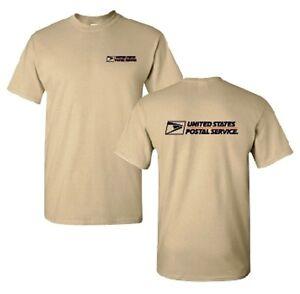 Usps postal tan t shirt 2 color postal logo on front for Usps t shirt shipping