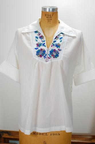 Vintage 60s 70s White Embroidered Boho Folk Hippie