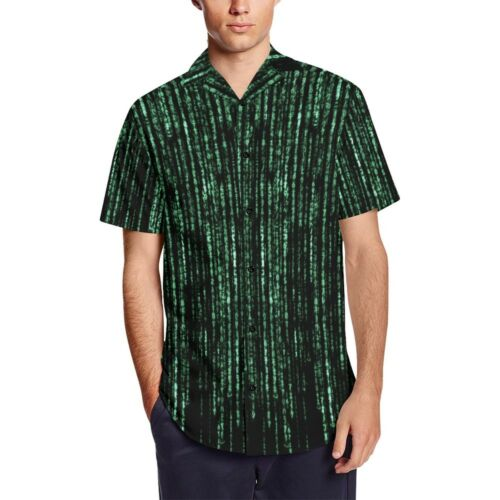 Matrix Computer Coding Programming Men/'s Short Sleeve Shirt With Lapel Collar