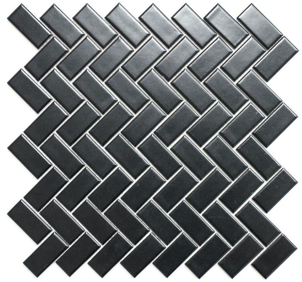 Mosaik Fliese Keramik Windmühle schwarz matt Küche Wand  24-CHB06BM_f  10 Matten