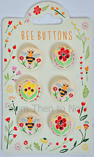 Bee Design Cream Wooden Wood Buttons Set 6 Embossed Flowers Spring Crafts Sewing