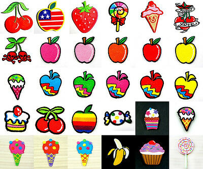 Fruit Tropical Sweet Candy Ice-Cream Cake Iron On Patch Embroidered Sew DIY Kit