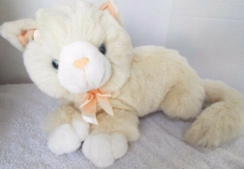 "15"" Main Joy Plush Cat Kitten Laying Down With Blue Eyes & Pink Bow, Very Soft"