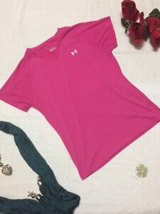 Under-Armour-Women-039-s-Pink-Athletic-V-Neck-Shirt-Short-Sleeve-Size-XS-X-Small-a