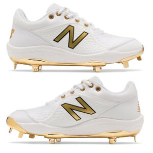 New Balance White/Gold Metal Baseball Cleats 3000v5 Men's Baseball Cleats - Gold