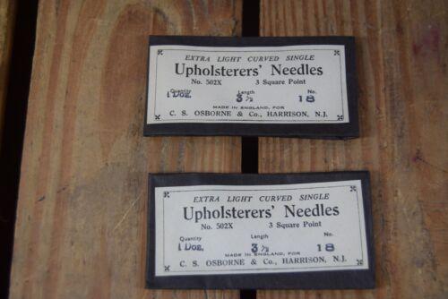 "2 Packs of Vintage Upholsters Needles No 18 One Dozen 3.5/"" Long CS Osborne /& Co"