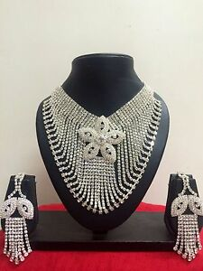 Indian-Bollywood-Style-Wedding-Bridal-Necklace-Earrings-Fashion-Jewelry-Set