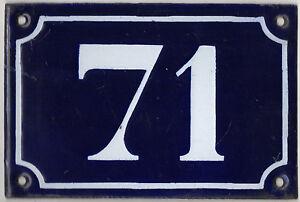Old-blue-French-house-number-71-door-gate-plate-plaque-enamel-metal-sign-c1900