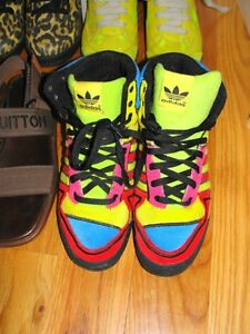 68557955228a Image is loading Jeremy-Scott-for-Adidas-Velvet-Multi-Colored-Sneakers