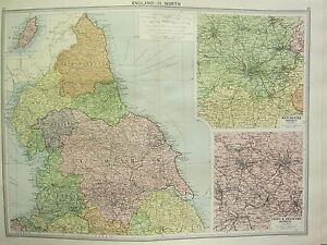 1920 LARGE MAP ENGLAND NORTH YORK DURHAM MANCHESTER DISTRICT