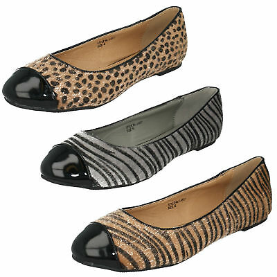 LADIES ANNE MICHELLE SLIP ON GLITTER PARTY EVENING BALLERINA DOLLY SHOES F8R0184