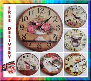 New-Vintage-Rustic-Retro-Shabby-Antique-Kitchen-Home-French-Style-Wall-Clock
