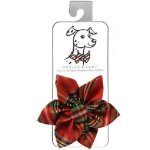 5e4da5e7884e NEW Red Gold Lurex Plaid Pinwheel Holiday Dog Collar Attachment by ...