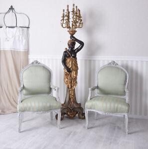Details zu Paar Stühle Armlehnstuhl Shabby Chic Sessel Vintage zwei Stück  Pärchen