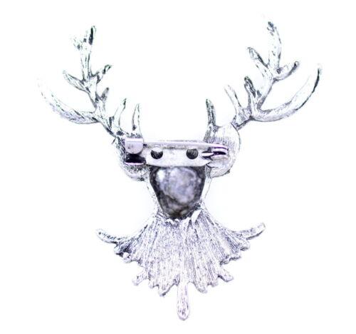 vintage retro stag deer reindeer brooch bag pin great Christmas Xmas gear gift