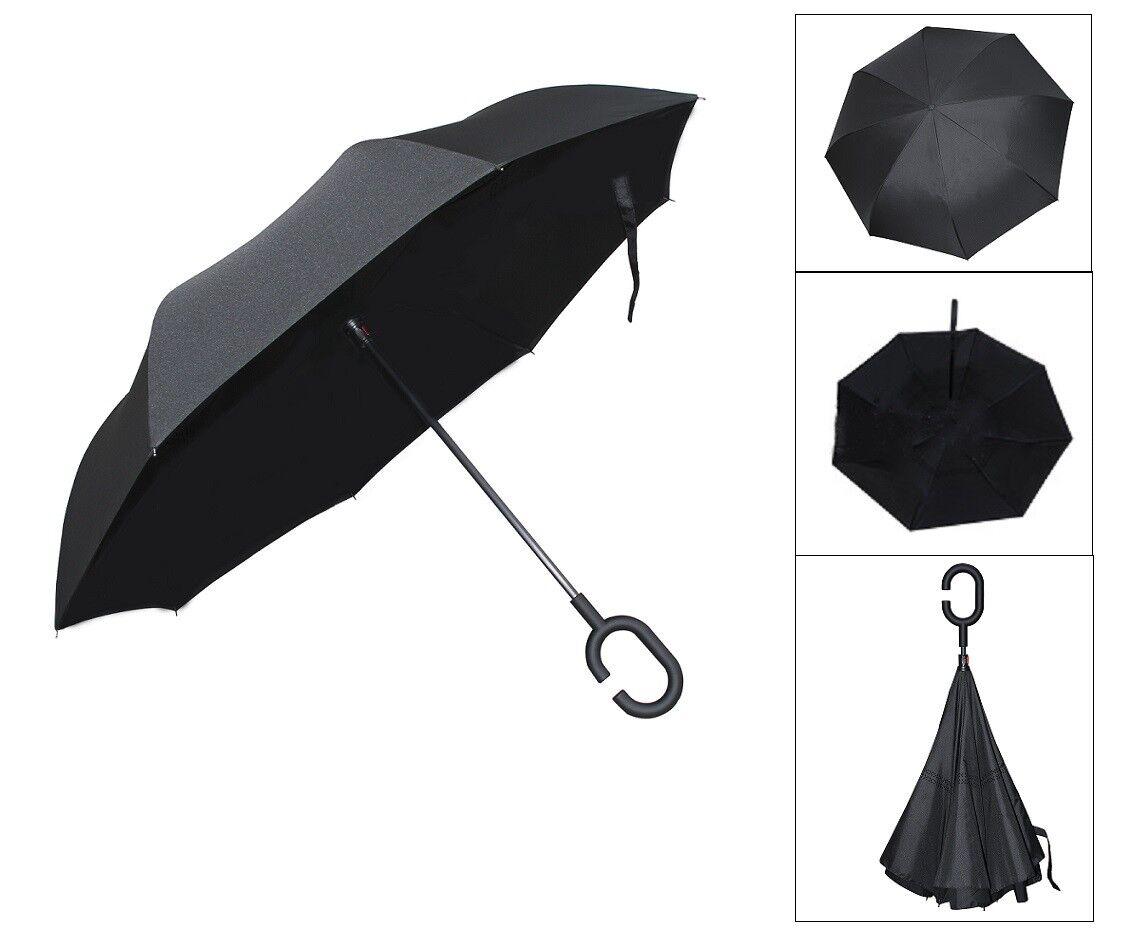 e3a177b78a26 C-Handle Reverse Umbrella Double Layer Upside Down Inverted SUN/RAIN  Windproof L