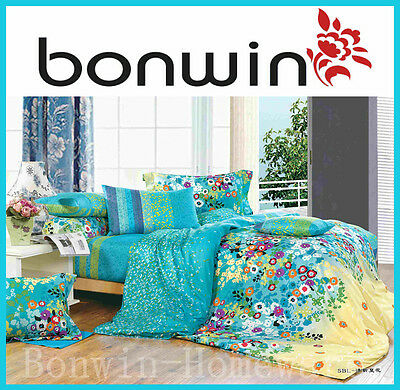 SB/DB/QB/KB 400TC Pure Cotton Printed Quilt/Doona Cover Sham Set Floral IRIS