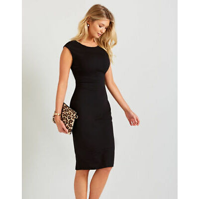 Ex Bravissimo Womens Seamed Fitted Pencil Dress Black Size 10 12 14 RSC CRC