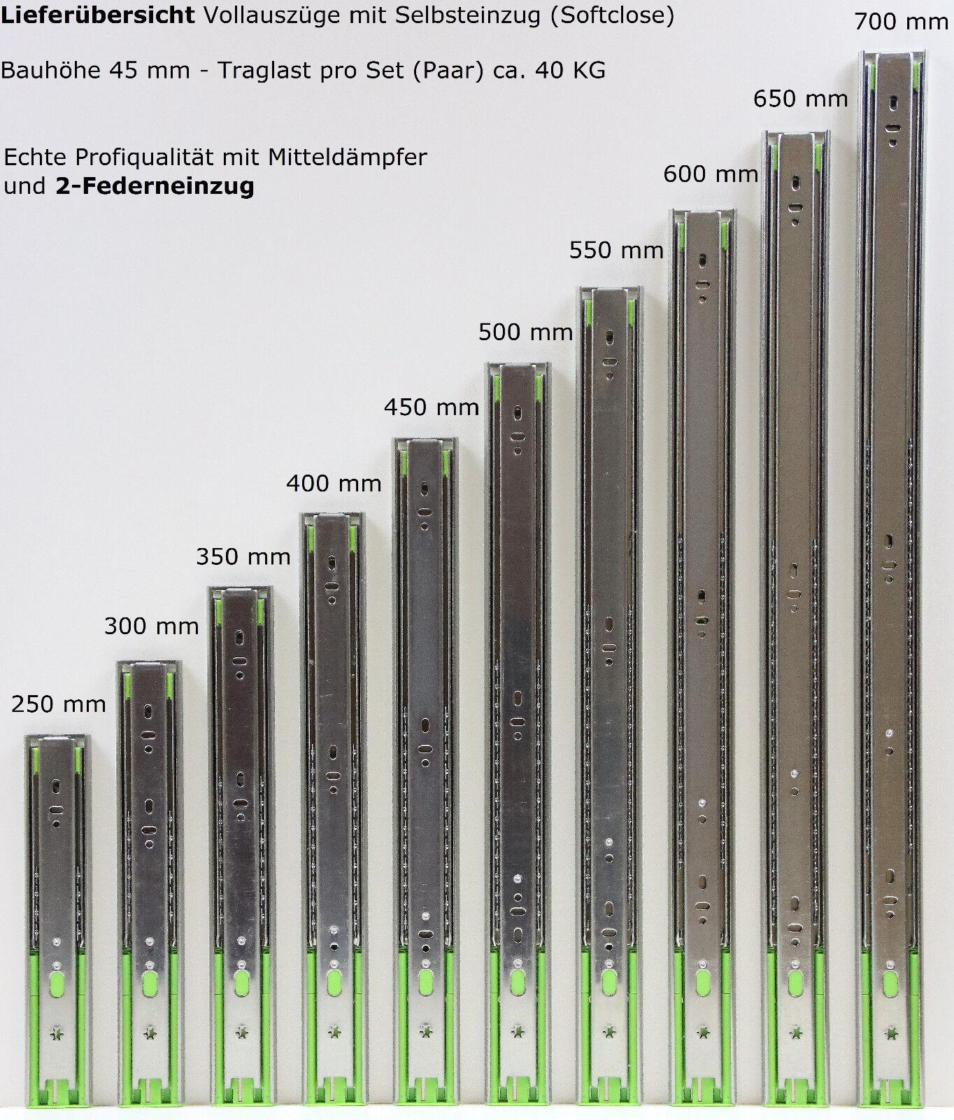 Schubladenauszüge Teleskopauszüge Selbsteinzug Dämpfer Vollauszug 250-700 mm