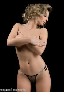 7632-BROOKE-Perizoma-G-String-Mini-Micro-Tanga-in-Pizzo-Nero-Decorato-con-Strass