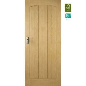 Image Is Loading External Oak Door CROFT Arched Flush 6 Vertical