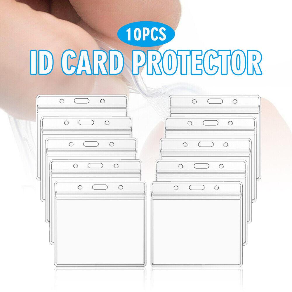 10 Paquetes Protector de tarjeta de ID de PVC Transparente Cubierta Funda Impermeable Herramientas titular