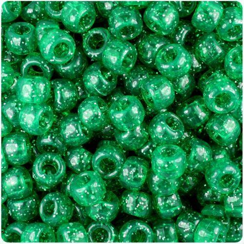 100 x Emerald Sparkle 9x6mm Barrel Shape Pony Beads Quality Beads