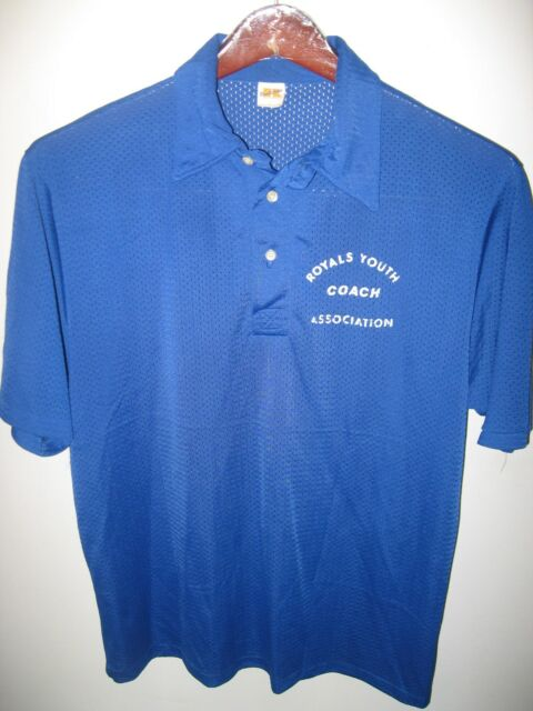Russell Athletic Vintage 1970's USA Mesh Royals Youth Coach Soccer Polo Shirt Lg