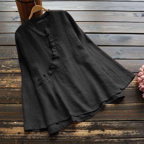 ZANZEA UK Womens Crew Neck Long Sleeve Plain Baggy Tops Casual T-Shirt Blouse