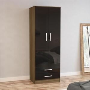 Image Is Loading Lynx Wood 2 Door Combination Wardrobe Bedroom Storage