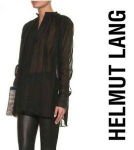 BNWT HELMUT LANG women's black oversized cotton sheer L/S poet blouse top szL