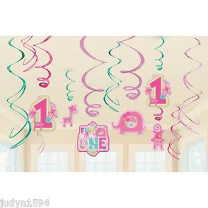 ONE-WILD-GIRL-PARTY-HANGING-SWIRL-DECORATIONS-FIRST-1ST-BIRTHDAY-SWIRLS-PINK