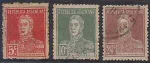 Latin America Argentina 1923 San Martin Sc 336-338 Key Values Perf 13 1/4 Used Scarce Cv$110