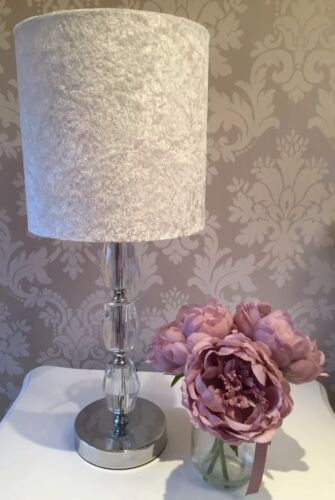Lampshade Handmade In a Stunning Crushed Velvet Silver Fabric 40cm