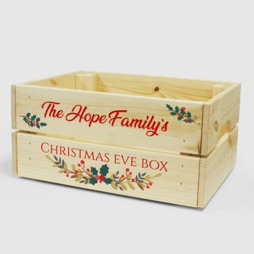 Solid Wooden Festive Xmas Eve Box Crate Personalised Family Christmas Eve Box